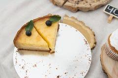 两个切片乳酪蛋糕用蓝莓和薄菏 库存照片