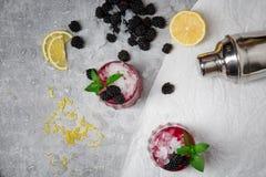 两个刷新的鸡尾酒一张顶视图用黑莓和绿色薄菏在灰色背景 有机和自然 库存照片