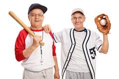 两个前辈棒球运动员 免版税库存图片