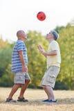 两个前辈获得乐趣在足球比赛期间 免版税库存图片