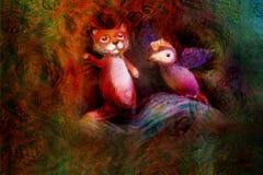 两个动物木偶,狐狸和紫罗兰色鸟,在抽象背景与文本空间 免版税库存照片