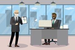 两个动画片商人在现代办公室沟通 库存例证