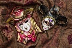 两个化妆舞会狂欢节面具 免版税库存图片