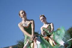 两个十几岁跳芭蕾舞者的移动是优美的 库存照片