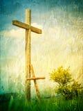 两个十字架-以下耶稣基督的标志 库存图片