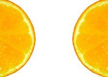 两个半切的桔子 免版税图库摄影