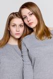 两个双姐妹被偎依,画象 免版税库存照片