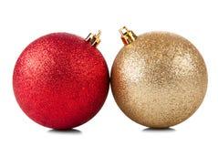 两个发光的圣诞节球 库存照片