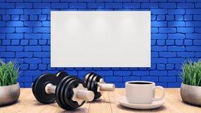 两个哑铃和一杯咖啡在一张木桌上的 在蓝色砖墙上的白色空白的海报 3d例证 向量例证