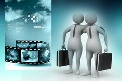 两个商人一起沟通 向量例证