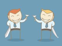 两个商人佩带的微笑面具 免版税库存照片