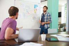 两个商人开创造性的会议在办公室 库存照片