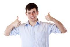 两个商人显示微笑的赞许年轻人 库存图片
