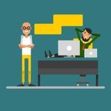 两个商人的交谈在工作场所 会议加州 向量例证