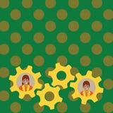 两个商人的例证每个里面五颜六色的嵌齿轮轮子适应照片 队的创造性的背景想法 皇族释放例证