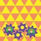 两个商人的例证每个里面五颜六色的嵌齿轮轮子适应照片 队的创造性的背景想法 向量例证