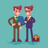 两个商人看剪贴板 向量 免版税库存照片