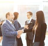 两个商务伙伴会议介绍的 免版税库存图片
