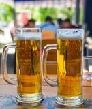 两个啤酒杯特写镜头 库存图片
