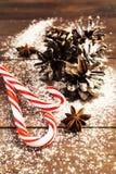 两个圣诞节棒棒糖和锥体垂直的射击与雪 库存照片