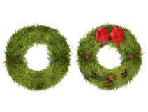 两个圣诞节花圈,一简单和一装饰,隔绝  免版税库存图片