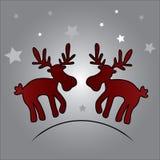 两个圣诞节驯鹿和星eps10 库存照片