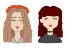 两个在动画片样式的不同女孩画象 设置在颜色的女性人头 向量例证