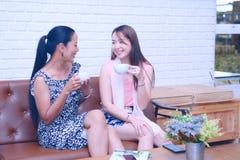两个在咖啡馆的女孩谈话快活和selfie 免版税库存图片