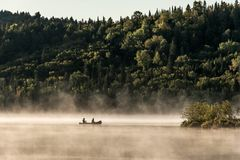 两个在水的河独木舟独木舟有雾的水日出雾金黄小时Canada安大略湖在阿尔根金族国家公园 库存图片