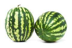 两个在白色背景的成熟西瓜莓果 免版税库存图片