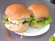 两个大汉堡 免版税库存图片