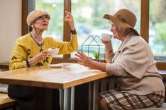 两个夫人在咖啡馆桌上 库存照片