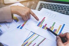 两个女商人回顾和分析收入图和图表与现代手提电脑 接近的女实业家手指 免版税库存图片