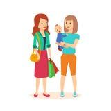 两个女孩做在购物中心的联购 免版税库存图片