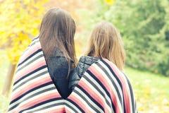 两个女孩在秋天公园坐盖了在格子花呢披肩, 库存图片