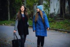 两个女孩在秋天公园快乐地花费时间 图库摄影