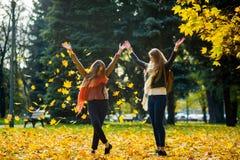 两个女孩在秋天公园快乐地花费时间 库存图片