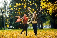 两个女孩在秋天公园快乐地花费时间 免版税库存图片