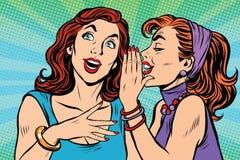 两个女孩女朋友说闲话 库存照片