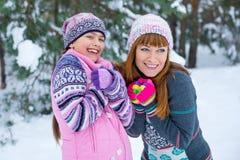 两个女孩获得乐趣在冬天 免版税图库摄影