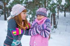 两个女孩获得乐趣在冬天 免版税库存照片