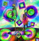 两个女孩跳舞的抽象颜色图象 库存例证