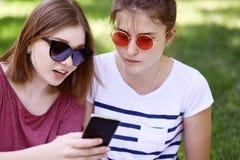 两个女性最好的朋友播种的室外射击在时髦树荫下,穿戴随便,通过巧妙的电话读了信息在互联网, 免版税库存图片