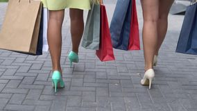 两个女朋友在购物的步行运载不同的颜色包裹与购物的沿着向下街道以后 慢的行动 影视素材