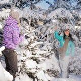 两个女朋友投掷雪球冬天森林 免版税库存图片