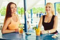 两个女朋友获得室外的乐趣在夏天 戴鸡尾酒眼镜的妇女在度假 库存照片