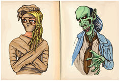 两个妖怪-手拉的传染媒介 免版税库存图片
