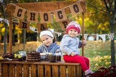 两个姐妹在秋天公园 图库摄影