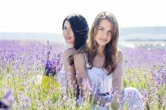 两个姐妹基于淡紫色的紫色领域 库存图片
