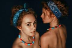 两个姐妹女孩时装模特儿画象与gorgeou的 库存照片